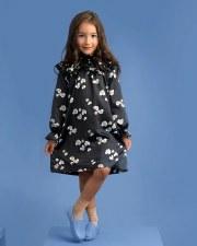 Spot Print Satin Dress Black 5