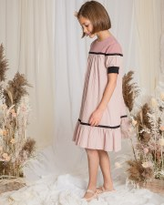 Crinkle Colorblock Dress Blush