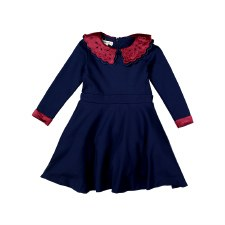 Circle Dress w/ Collar Navy 3