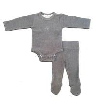 Ribbed 2pc Baby Set Grey 24M
