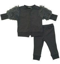 Baby Set W/ Fur Sleeves Grey 6