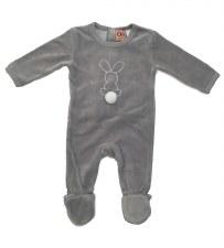 Velour Bunny Stretchie Grey 12