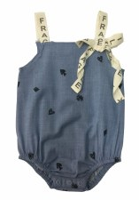 Fragile Denim Romper Blue 18M