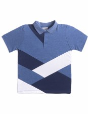 Colorcblock S/S Polo Blue/Whit