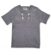 Ribbed S/S Buttons Sweater Blu