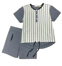 Metallic Striped Short Set Blu