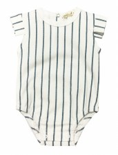 Metallic Striped Romper Blue 1