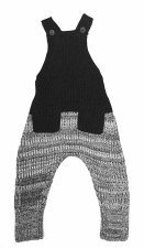 Ribbed Knit Overalls Black/Whi