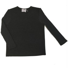 Top W/ Ribbed Sleeves Charcoal