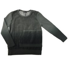 Dip Dye Velour Pocket Top Grey