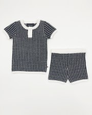 Grid Knit Set Black/White 6M