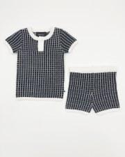 Grid Knit Set Black/White 9M
