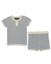 Grid Knit Set Blue/Grey 12M
