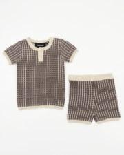Grid Knit Set Cocoa 9M