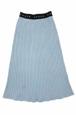 Long Ribbed Denim Skirt Light