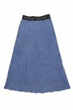 Long Ribbed Denim Skirt Medium