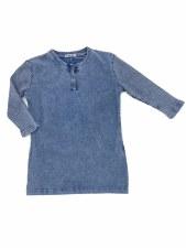 Denim Wash Tshirt W/ Rib Sleev