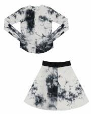 Ribbed Tie Dye 2pc Black/White