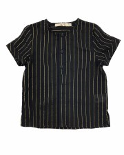 Gold Pinstripe S/S Shirt Black