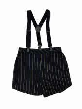 Gold Pinstripe Overalls Black