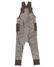 Geometric Knit Overalls Cocoa