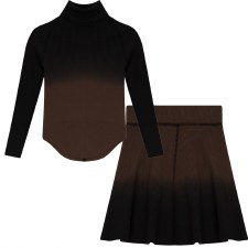 Ribbed Ombre Girls Set Coffee