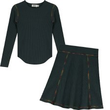 Ribbed Set W/ Colored Trim Gre