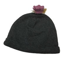 Hat W/ Flower Charcoal 6-12M