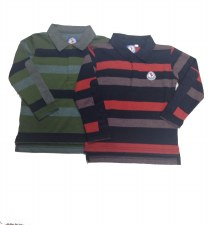 L/S Striped Polo Olive 7