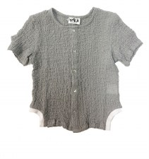 Crinkle Shirt W/ Trim Grey 8