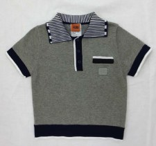 Boys S/S Sweater Grey/Navy 6X