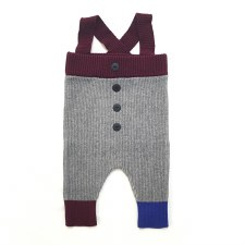 Ribbed Overalls Grey/Wine 6M