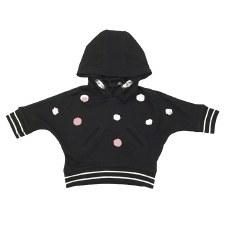 Hoodie Top W/ Band Black/Pink
