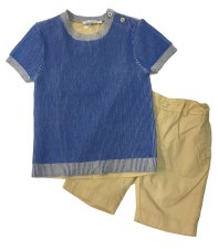 Boys Shorts Set Blue/Sand 3