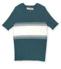 Riibbed S/S sweater Teal/White