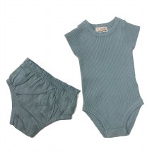 Rib Knit Baby Set Blue 12M