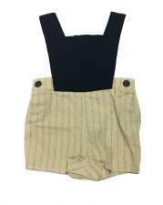 Linen Overalls Black/Beige 6M