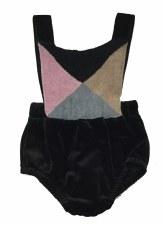 Velvet Romper W/ Knit Panel Bl