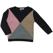 Knit Diamond Colorblock Sweate