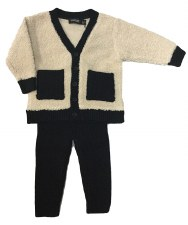 Sherpa Baby Knit Set Black/Cre