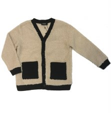 Sherpa Cardigan Black/Cream 10