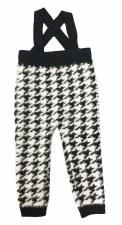 Fur Houndtooth Overalls Black/