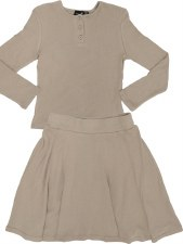 Girls Ribbed 2pc Sand 6