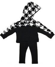 Houndtooth Baby Set Black/Whit