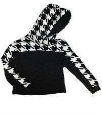 Houndtooth Hoodie Black/White