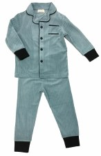 Button Down Velour PJ W/ Trim