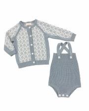 Knit Romper Set Blue/Grey 6M