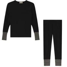 Pajama W/ Striped Cuffs Black