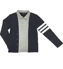 Polo W/ Striped Sleeve Blue/Gr