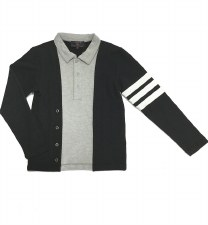 Polo W/ Striped Sleeve Black/G